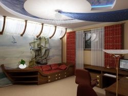 <p><em><strong>Ремонт в детской комнате для мальчика с морской тематикой.</strong></em></p>