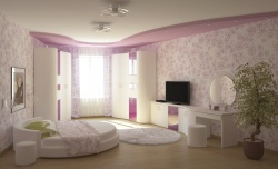 Ремонт и отделка спальни: дизайн спальни нежно-лиловый.