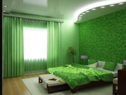 <p><em><strong>Ремонт спальни: Дизайн спальни с элементами зеленого.</strong></em></p>