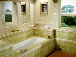Ремонт ванной: Дизайн плитки в ванной. С алатовый цвет.