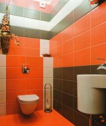 <p><em><strong>Ремонт и отделка туалета: дизайн туалета в оранжевый тонах.</strong></em></p>