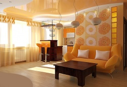 <p><em><strong>Дизайн кухни гостиной. Цвет оранжевый Ремонт и отделка.</strong></em></p>