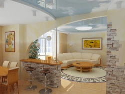 <p><em><strong>Оформление двухкомнатной хрущевки при совмещённой гостиной и кухни.</strong></em></p>