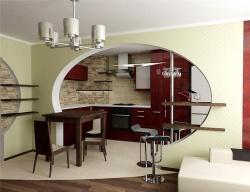 <p><strong>Перегородка между кухней и совмещенной гостиной. Ремонт и отделка.</strong></p>
