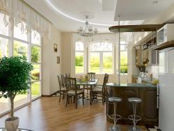 <p><strong><em>При обустройстве гостиной - кухни, входят в моду различные стеллажи.</em></strong></p>