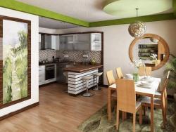 Интерьеры гостиных совмещенных с кухней - с элементами Дерева.
