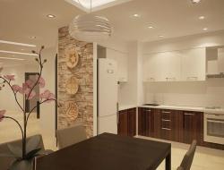 Ремонт и отделка кухни: дизайн кухни совмещенной с гостиной.