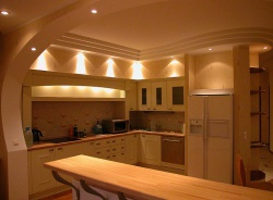 <p><em><strong>Ремонт и отделка кухни: современная кухня с барной стойкой.</strong></em></p>