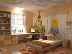 <p>Детская комната для девочки. Детали - замок, солнце, безоблачное небо....</p>